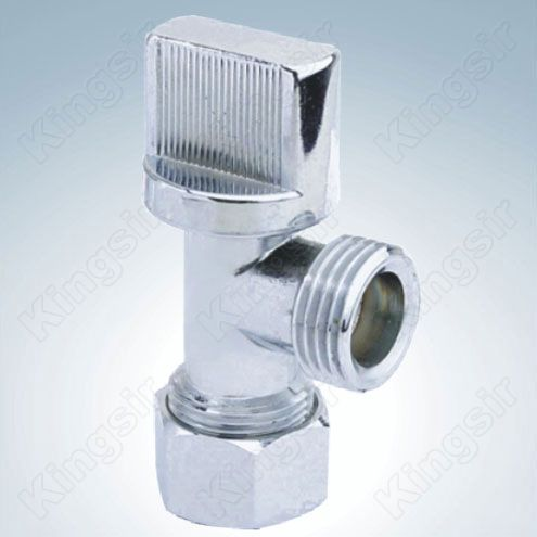 Brass Angle Valve With Pipe Union Chrome Plated
