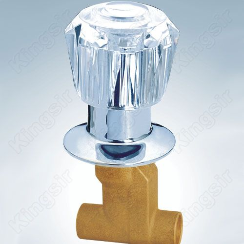Brass Shower Valve With Zinc Flange And Acryl Knob Solder Ends